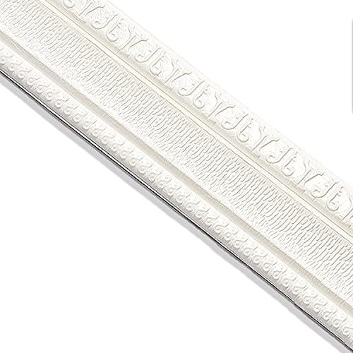 Adhesivo de pared autoadhesivo 3D PE, modelo blanco de 230 cm de largo, zócalo, se puede utilizar en la pared de la cocina