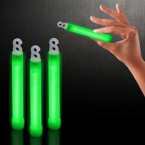 """Windy City Novelties 25 Pack - 6"""" Premium Glow Sticks - Select Your Color! (Green)"""
