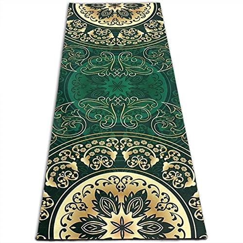 Esterilla de yoga con diseño de mandala con forma de círculo floral, 5 mm de grosor, antideslizante, para todo tipo de yoga, pilates y ejercicios de suelo (180 cm x 61 cm x 0,5 cm)