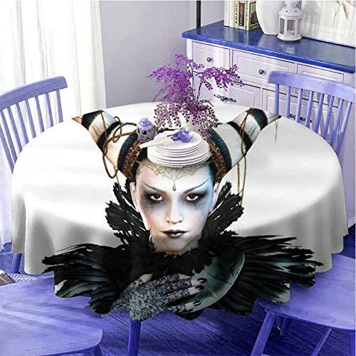 Fantasy - Mantel redondo impermeable con retrato de una dama gtica con un disfraz de carnaval, lpiz labial negro y cuernos de pelo como regalo de 180 cm de dimetro, color blanco y negro