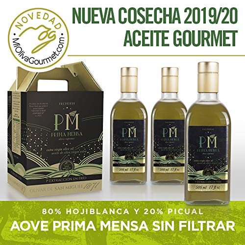 Prima Mensa sin filtrar - Aceite de Oliva Virgen Extra Premium Gourmet - 4 frascas de 500ml