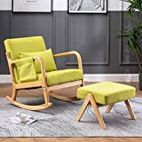 Paddie Rocking Chair with Ottoman, Mid Century High Back Armchair Modern Glider Rocker Upholstered Fabric Padded Seat Side Pocket Pillow for Nursery (Yellow-Green)