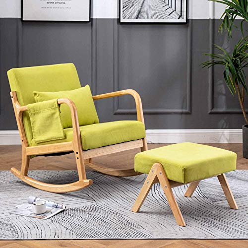 Paddie Rocking Chair for Nursery, Glider Rocker with Ottoman Side Pocket Pillow Fabric Modern for Living Room Bedroom Furniture (Yellow-Green)