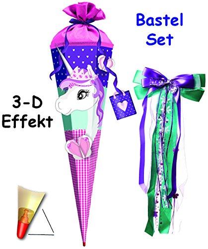 alles-meine.de GmbH 3-D Effekt _ BASTELSET Schultüte -  Einhorn mit Glitzer Perlen  - 85 cm - incl. großer Schleife - mit Holzspitze - Zuckertüte - Set zum selber Basteln - 6 e..