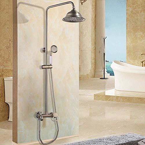 Duschsystem Brausegarnitur Duschsystem der Wand befestigte Duscharmatur Set Nickel gebürstet Einstellbarer Regen-Dusche-Bar Kalt- und Warmwassermischer Dusche Sets Hoher Druck (Color : Style D)