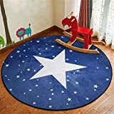 Guyuan Children's Room Area Round Carpet Bedroom Living Room Study Rug Flannel Crystal Super Soft No Mites Non-slip Baby's Crawl Mat Kid Boy's Girl's Game Pad Foot/Floor Mat Cartoon star blue