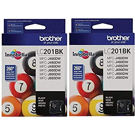 Brother LC-201BK Ink Cartridge (Black 2-pack) in Retail Packaging