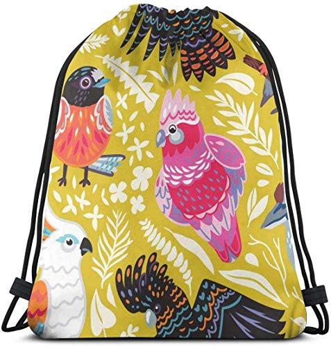 NA Exotisch Patroon Met Australische Vogels En Tropische Bladeren Aangepaste Klassieke Draagbare Trekkoord Rugzak 14.2