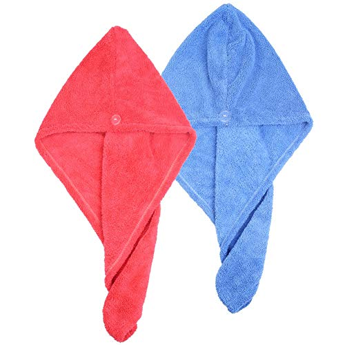Jsutime Haartrockentuch / Haarturban / Handtuch für Haare, besonders weiche Fasern, 2 Stück, Blau und Rosa
