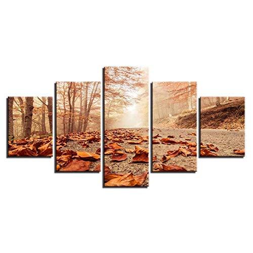 YliJkeT murales 5 Partes artística para Pared Paisaje de Sol con Cinco Hojas de otoño consecutivas cayendo al Suelo lienzos decoración de Fondo del Dormitorio