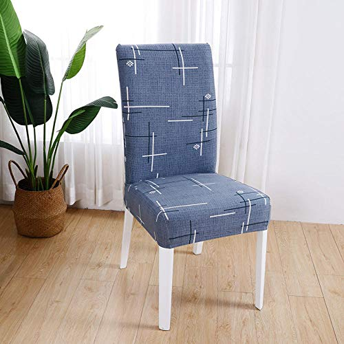 Chair Covers Blue Dining Chair Covers Spandex Stretch Removable Washable Modern Dining Room Chair Covers,Seat Covers with Elastic Band for Wedding Dining Room Decoration4 Pcs