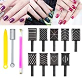 12 Pieces Nail Magnet Tool Magnetic Polish Cat Eye Magnet Stick Super Strong Double-head Magnet Wand Flower Design 3D Nail Art DIY Cat Eye Effect Magnet Plate Manicure Tool