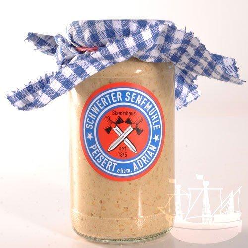 Ganzkornsenf Senf, im Glas, 'das besondere Vergnügen', ein super Allrounder- passt zu allem, Schwerter Senfmühle, 185 ml - Bremer Gewürzhandel
