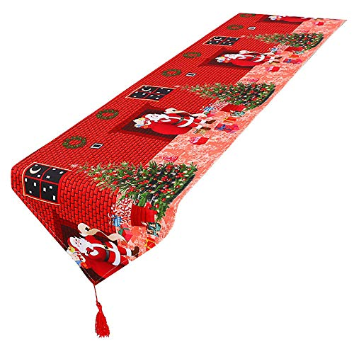 YUESUO Christmas Table Runner, Embroidery Santa Claus Christmas Runner for Table Decoration, Family Kitchen Dinners or Gatherings, Indoor or Outdoor Parties, Everyday Use(16 x 72 Inch)