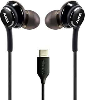 UrbanX Auriculares 2020 para Samsung Note 10/20 y S20 con conector tipo C | Diseñado por AKG con micrófono y botón de volumen (negro)