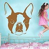 39 * 42cm de muebles lindo Boston Terrier Dog Avatar Vinyl Wall Art Decals pegatinas de pared decorativos Murales salon dormitorio Casa de F