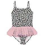 swimsobo Teen Swimsuits for Girls Bathing Suits One Piece Swimwear Colorful Leopard Printed Romper Cute Bikini with Ruffle Tulle Skirt 9 10 Years Pink Black