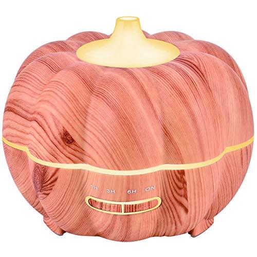 EDANQ Luftbefeuchter Für Therische Aromatherapie, Glas Luftbefeuchter Aromatherapie BPA-Free Diffusor Für Wohnung Schlafzimmer, 400Ml Kürbis-Design,Light Wood Grain