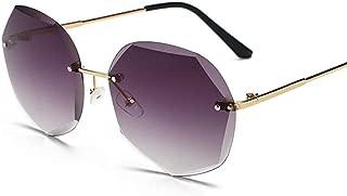 Fashion Polygonal Street Shot Glasses for Men/Women UV Protection Sunglasses Fashion Frameless Gradient Lens Sunglasses Retro (Color : Blue)