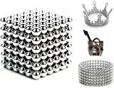 216 Pieces 5 Millimeter M-agnets Balls Building Game Building Blocks Toys for Intelligence Learning Development and Creative Educational Toy, Office Desk Toy & Stress Relief - Silver