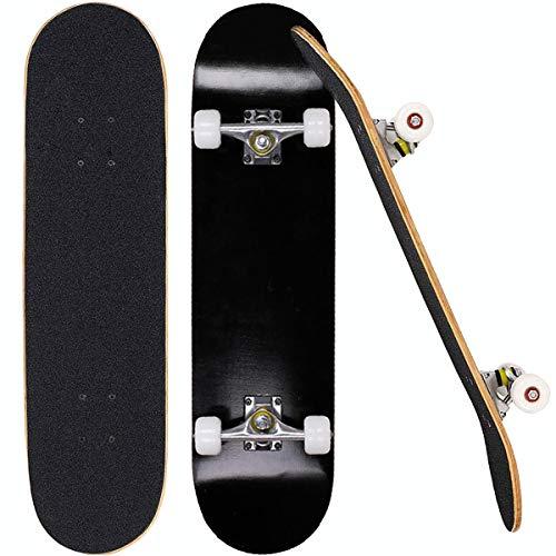 "Sumeber Skateboards for Girls Teens Beginners 31""x 8""inch Complete Standard Skateboard Double Kick Canadian Maple Wood Cruiser Skate Boards for Kids Boys Birthday (Black)"