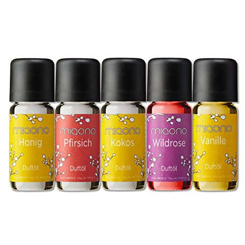 Duftöle von miaono - Wunderbare Welt der Düfte - Aromaöle für himmlichen Raumduft (Vanille-Kokos-Honig-Pfirsich-Rose, 5er Set 5x10ml)