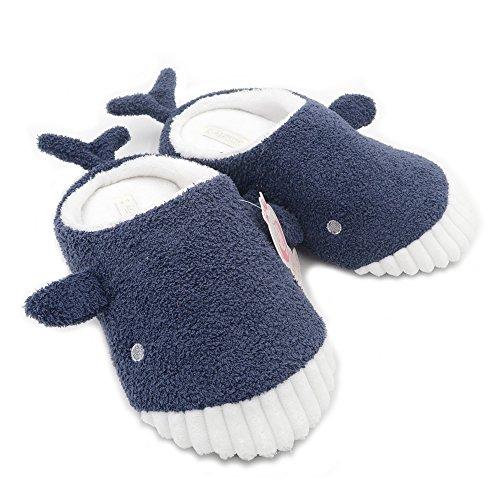 Millffy Cute Whale Plush Slippers Japanese Girl Plush Shark Animal Soft Bottom Indoor Home Flat Floor Shoes (5-6 Women/3-4 Men, Shark)