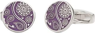Mens Paisley Guilloche Enamel Cufflinks - Purple