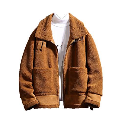 Pan Hui Men's Fleece Lined Sherpa Trucker Jacket Winter Coat Soft Light Outdoor Outwear Casual Thickened Cotton Jacket Brown