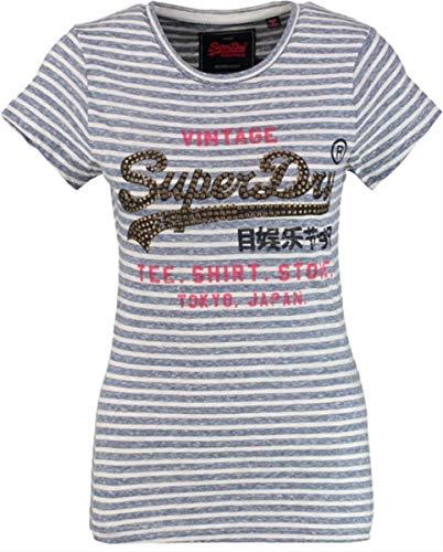 Superdry t-Shirt weiches blau gestreiftes Hemd mit Nieten - fällt Kleiner Größe XXS