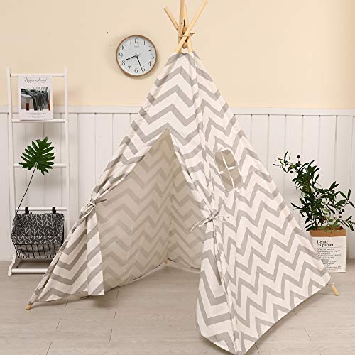 SNOW MountainSnow Indian Teepee Tent for Kids, 100% Natural Cotton Canvas Teepee Play Tent, Perfect Toys for Girls and Boys, Indoor & Outdoor Playing (GrayStripe)