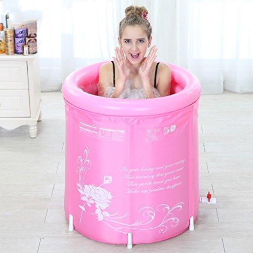 lyy Bañera inflable ambiental ambiental baño plegable barril bañera cubo de baño baño de adultos balde para enviar esponja rosa azul claro ( Color : A )