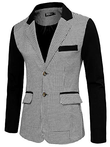Lars Amadeus Men's Casual Sport Coat Pattern Button Up Houndstooth Plaid Blazer Large Black and White