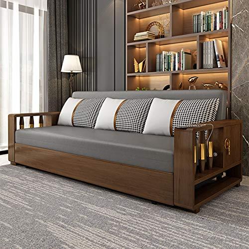 Sofá Cama Futón, Moderno Sofá Cama Plegable Convertible, Reclinable, Muebles De Sala De Estar con Nueva Barandilla De Madera Maciza con Función De Carga USB,2.02M