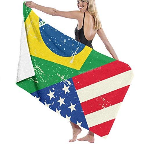 FETEAM Toallas de baño con Estampado de Banderas de Brasil y EE. UU. La Mejor Toalla de baño Toallas de Playa para Mujeres Juego de baño Accesorios de baño
