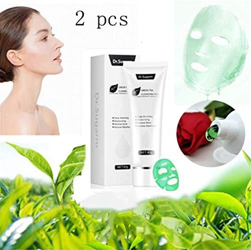 hmkazm 40g Dr.Sugarm Green Tea Face Peel Mask Blackhead Remover Acne Deep Cleansing,Emoves Acne Espinillas Tira de Poros Hidratante, Antienvejecimiento Hidratante Control de Aceite (2 pcs)