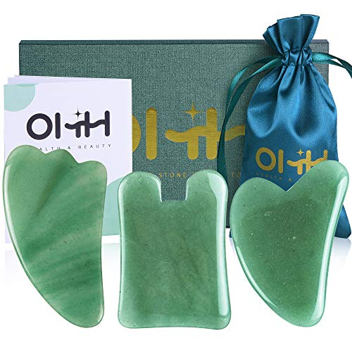 Gua Sha Massage Tools Set, OHH Aventurine Natural Stone Guasha Board for Face and Body, Skincare Gua Sha Facial Massager for SPA Acupuncture Therapy Trigger Point Treatment, Pack of 3