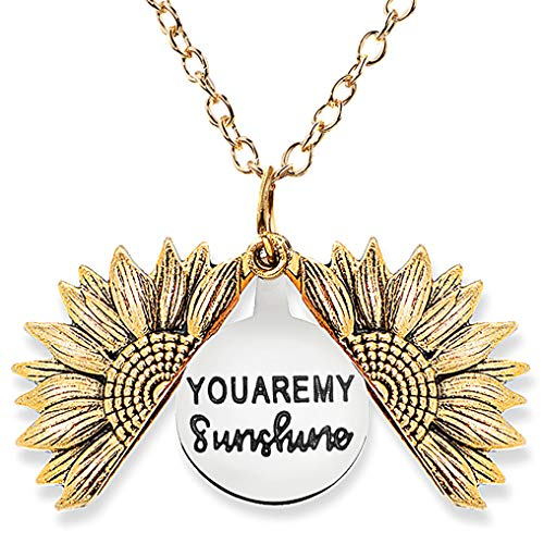 Gleamart You are My Sunshine Inspirational Necklace Sunflower Pendant for Women Gold
