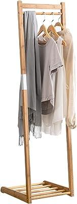 ポールハンガー 竹製 ハンガーラックコートハンガー 頑丈洋服かけスタンド コート掛け 組立簡単アンティーク衣類収納 スタイリッシュ オープンシェルフ付き 省スペースハンガー (C3)