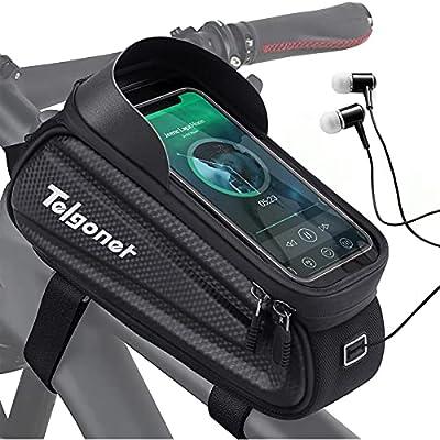 Telgoner Fahrrad Rahmentasche, Wasserdicht Fahrradtasche Handyhalterung, Oberrohrtasche mit TPU Touchscreen Handytasche für Smartphone unter 7 Zoll, Fahrrad Zubehör für Montainbikes Rennrad Ebikes