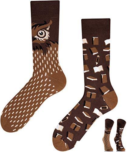 TODO COLOURS Motiv Socken - Smart Owl - mehrfarbige, verrückte, bunte Socken für Individualisten (39-42, Smart Owl)