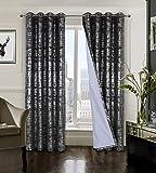 always4u Cortinas opacas 100 % de terciopelo para salón con estampado plateado, brillante, elegante, opacas, aislamiento térmico con ojales, juego de 2 unidades, 213 x 132 cm, color gris antracita