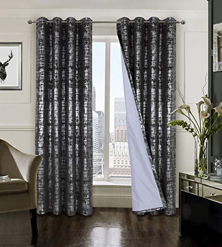 tende soggiorno 90 x 260 always4u Tenda oscurante 100% velluto tende per soggiorno con motivo argento