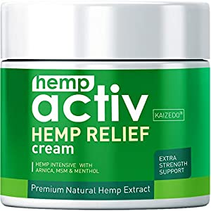 Hempactiv Joint & Muscle Relief Cream, Infused with Hemp, Menthol, MSM & Arnica, Soothe Discomfort in Your Back, Muscles, Joints, Neck, Shoulder, Knee, Nerves - 2 Fl Oz