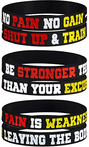 AMPM Collective | Silicone Motivational Wristbands | Rubber Inspirational Quote Bracelets | Unisex for Men Women Teens | for Daily Gym Workout Perseverance and Exercise Motivation (12 Pack)