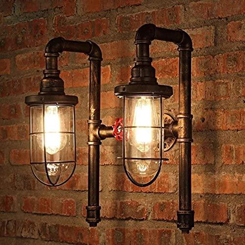 Enkel och cool vägglampa E27 Vattenrör Dubbelhuvud Garage Belysning Industriell nce Ljusarmatur Nautisk Brun Metallburram Klar Glas Skärmvägg för Trappor Bar Ai