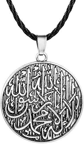 CAISHENY Collar con Colgante de Letras árabes de Plata Antigua, Amuleto, Accesorios de joyería Redondos de Bronce religioso, Regalo étnico
