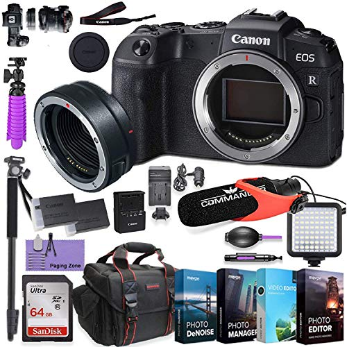 Canon EOS RP Mirrorless Digital Camera (Body Only) and Canon Mount Adapter EF-EOS R kit Bundled w/Deluxe Accessories Like Comica Pro Mic, High Speed Flash, 4-Pack Photo Editing Software and More