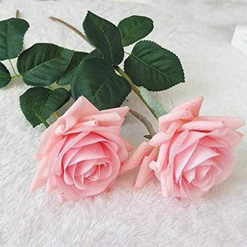 7 stks real touch tak stam latex rose hand feel voelde simulatie decoratieve kunstmatige siliconen rose bloemen thuis bruiloft, real touch rose