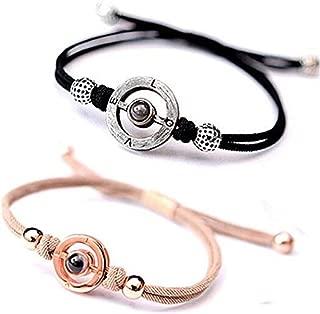 JJAI Couples Rope Bracelets, 100 Different Languages I Love You Projective Bracelet, Valentine's Gift